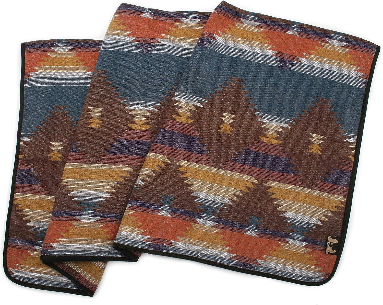 Ruth/&Boaz Outdoor Wool Blend Blanket Ethnic Inka Pattern M Grey, Large