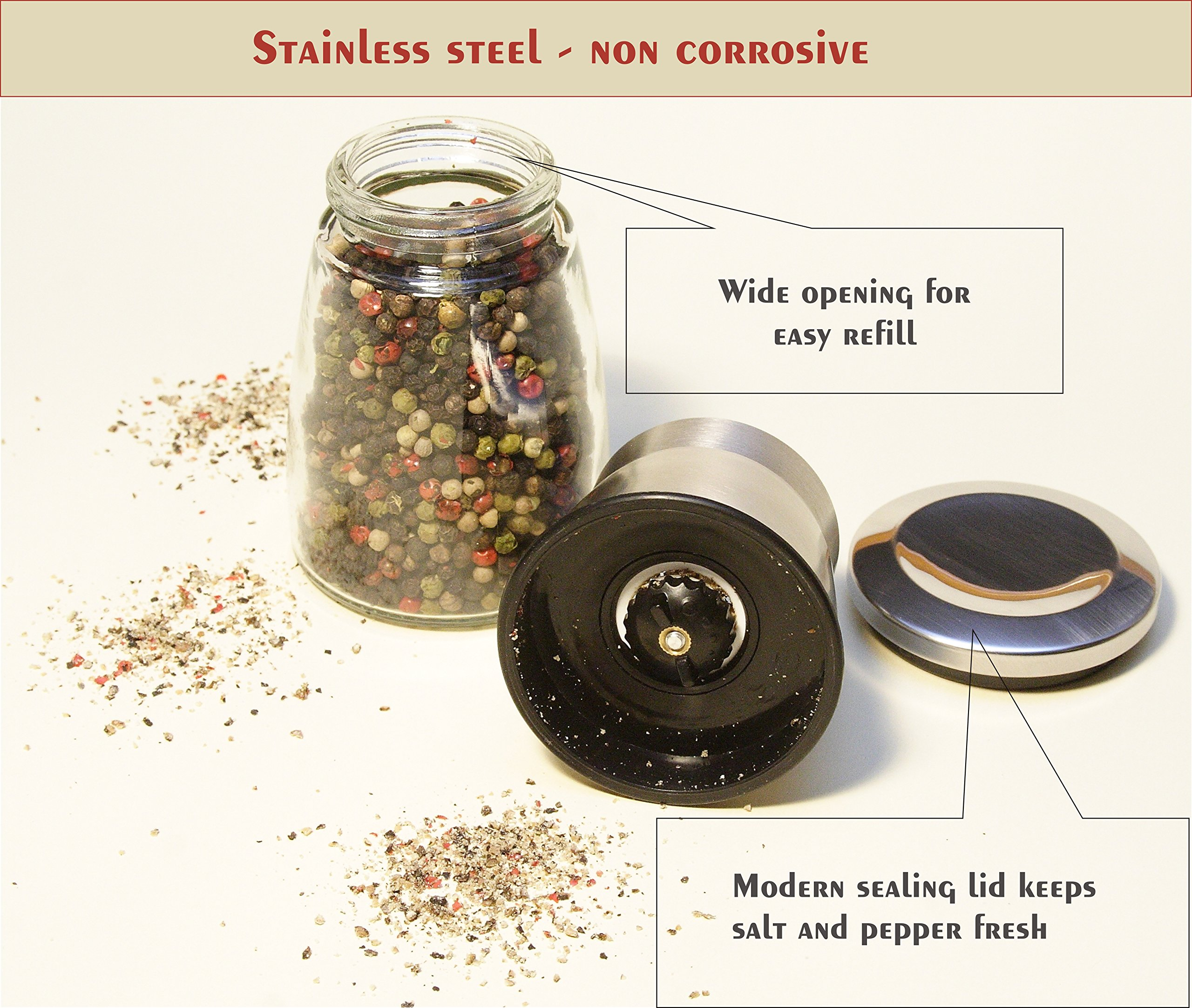 Best Salt and Pepper Grinder, Stainless Steel - Adjustable Coarseness Mill - Kitchen To Table Use Grinder - Easy to Refill Shaker - Elegant Spice Mill (Large set of 2 grinders) by Best cooks friends (Image #3)