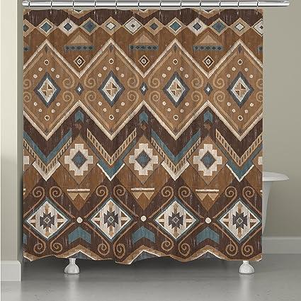 Western Rustic Aztec Themed Earthy Top Shower Curtain Featuring Geometric Diamonds Arrows Pattern