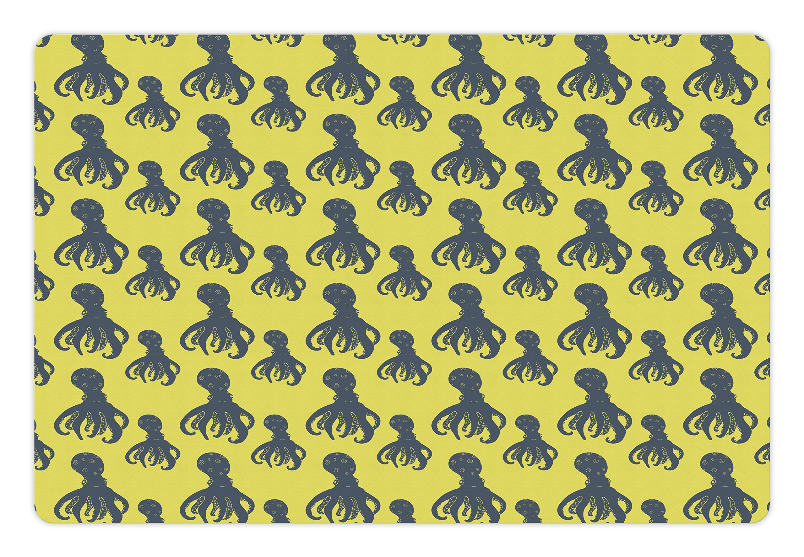 Ambesonne Octopus Pet Mat for Food and Water, Hand Drawn Abstract Marine Underwater Animals on Yellow Background, Rectangle Non-Slip Rubber Mat for Dogs and Cats, Pale Yellow and Cadet Blue