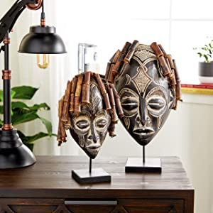 Deco 79 Handmade Brown Barkcloth & Baobab Wood Chokwe Mask with Rope Hair on Stands - Set of 2, Medium (14515)