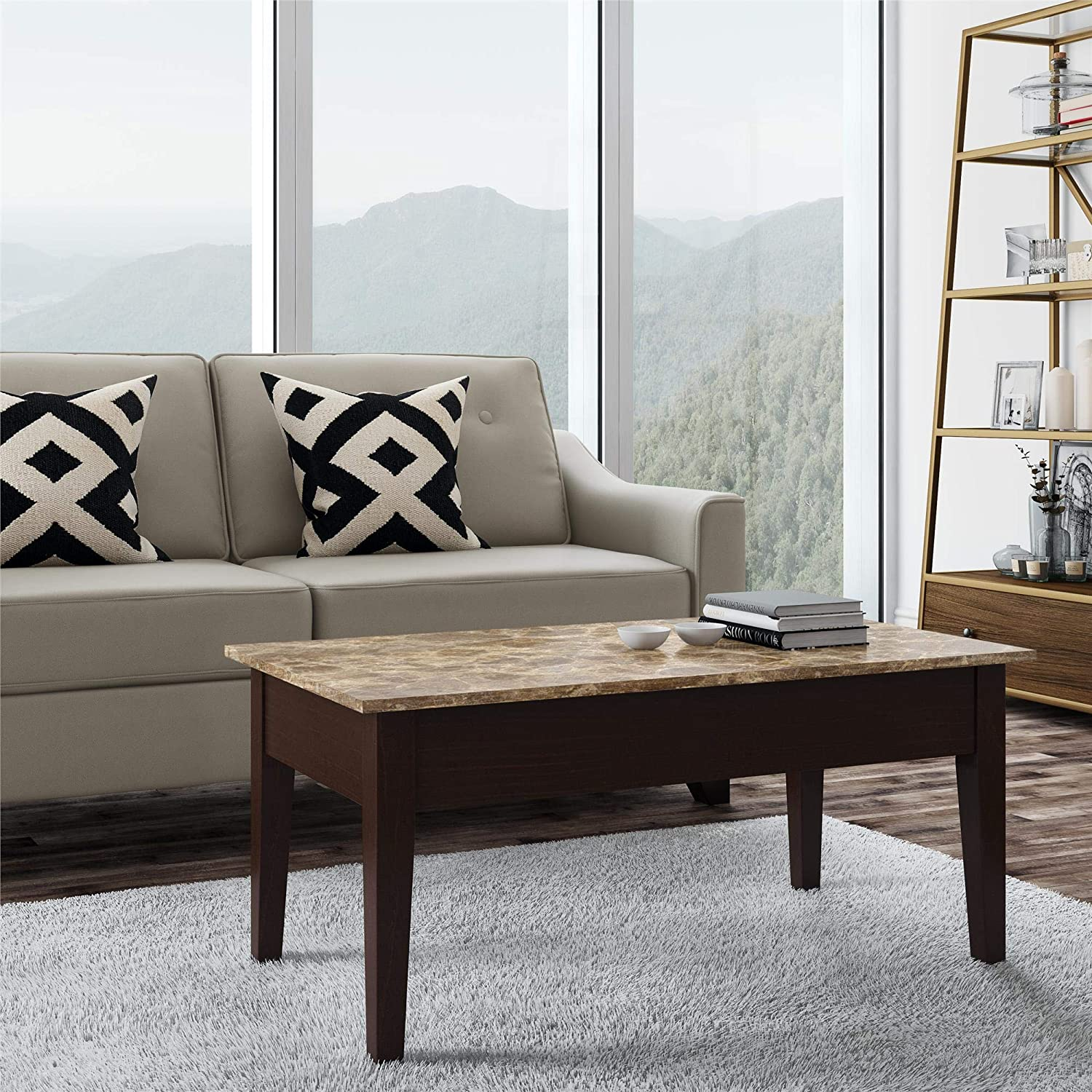Marble Coffee Table Furniture Village: Dorel Living Faux Marble Lift Top Coffee Table Storage
