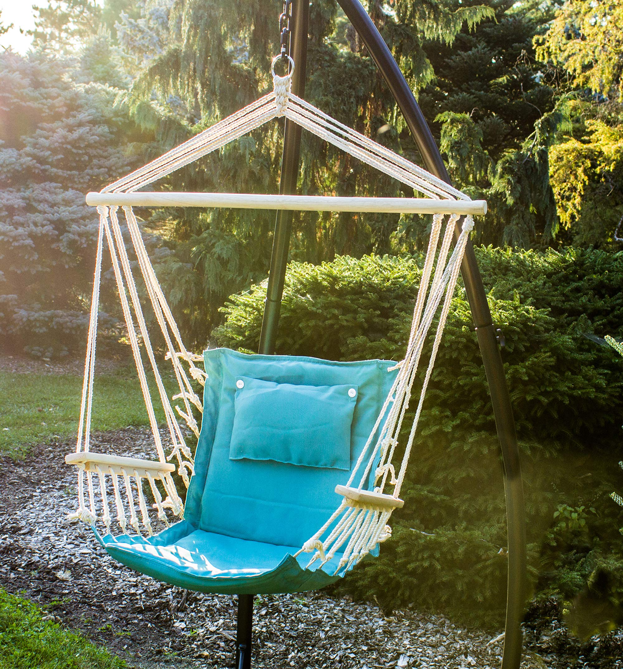 BACKYARD EXPRESSIONS PATIO · HOME · GARDEN 914974 Backyard Expressions Hammock Chair and Stand, Aqua by BACKYARD EXPRESSIONS PATIO · HOME · GARDEN