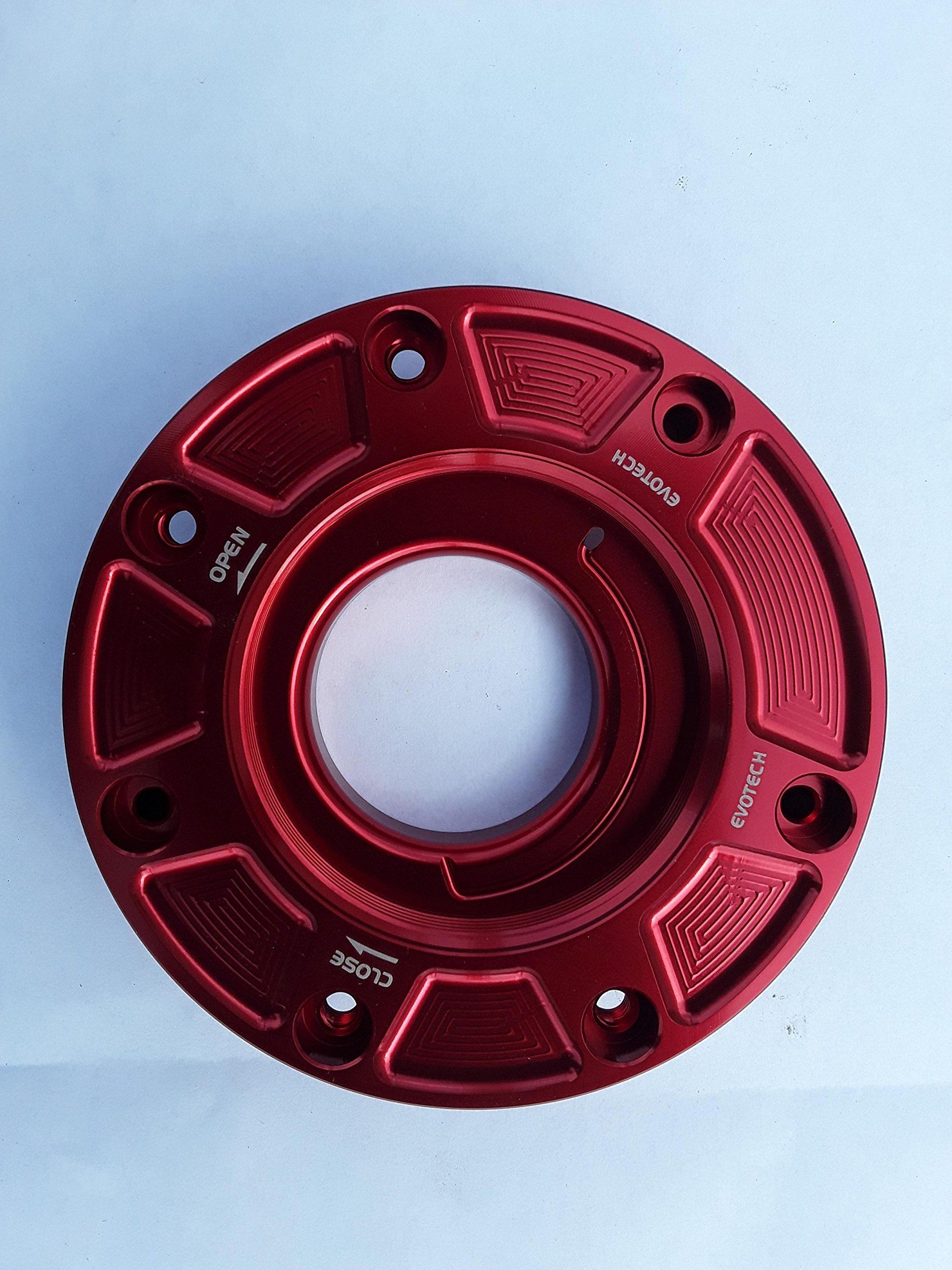 Evotech Full Turn Gas Cap Bases for most older Kawasaki Sportbikes FC-KA1 Cherry Red