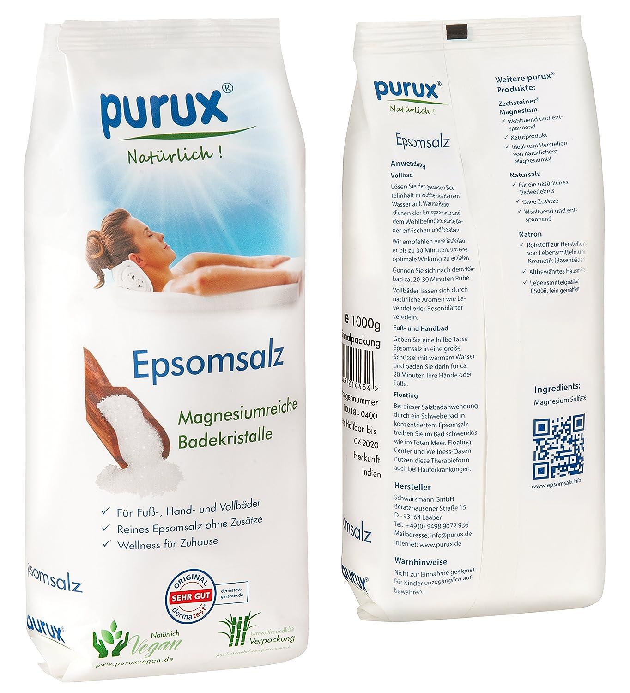 Sal de Epsom, sulfato de magnesio, 1 kg de MgSO4 de grado alimenticio: Amazon.es: Belleza