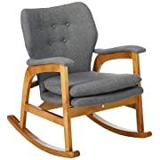 Christopher Knight Home Bethany Mid Century Fabric Rocking Chair (Grey), Light Walnut
