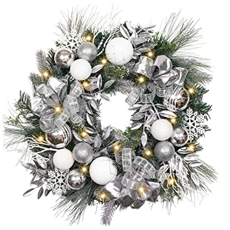 Silver Christmas Wreath.Valery Madelyn Pre Lit 24 Inch Frozen Winter Silver White Christmas Wreath For Front Door With Shatterproof Ball Ornaments Snowflakes Pine Cones