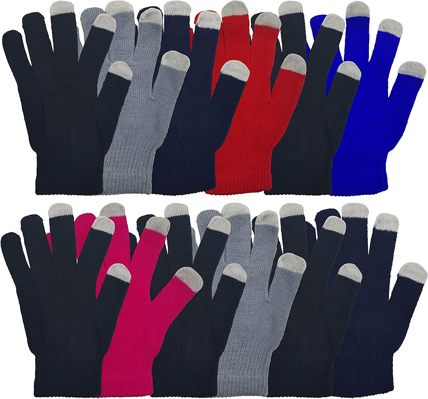 Pangda 12 Pairs Touchscreen Gloves Stretch Knitted Texting Gloves Warm Windproof Solid Color Mittens For men and Women