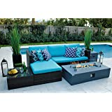 "AKOYA Outdoor Essentials 4 Piece 56"" Rectangular Modern Fire Pit Table w/Outdoor Patio Furniture Set in Graphite (Dark Gray) by (Caribbean Blue)"