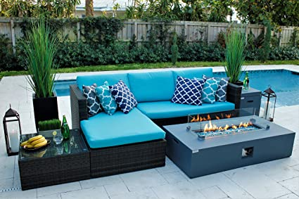 Exceptionnel AKOYA Outdoor Essentials 4 Piece 56u0026quot; Rectangular Modern Fire Pit Table  W/Outdoor Patio