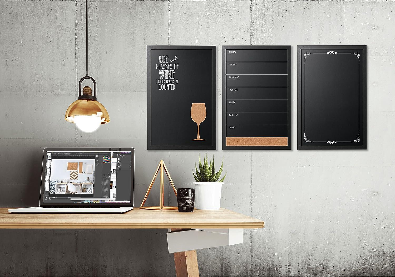 Vitrina decorativa montaje de pared pizarra, marco negro ...