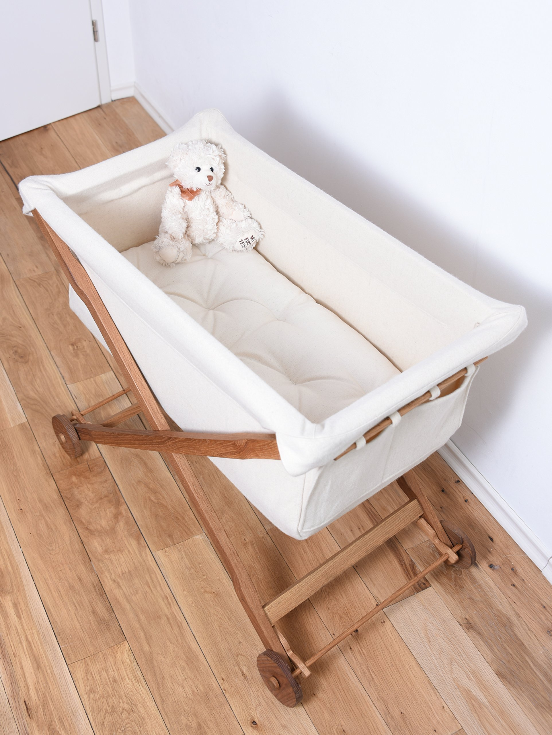 KOOTACRIB Baby's First Bed Made Entirely of Oak Wood and Bassinet of Natural Wool / Wool Stuffed Mattress Included