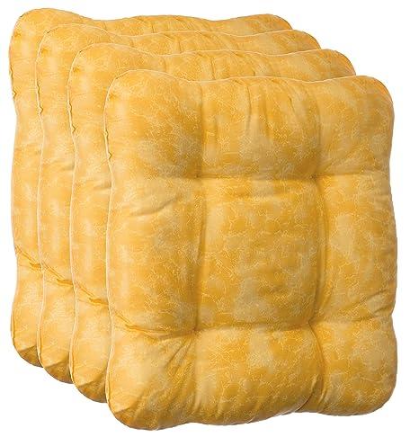 Juego de cojines cojines para asiento silla Cojín Silla Auflage – 2 y 4 – Set – distintos colores, poliéster, amarillo, 4 unidades