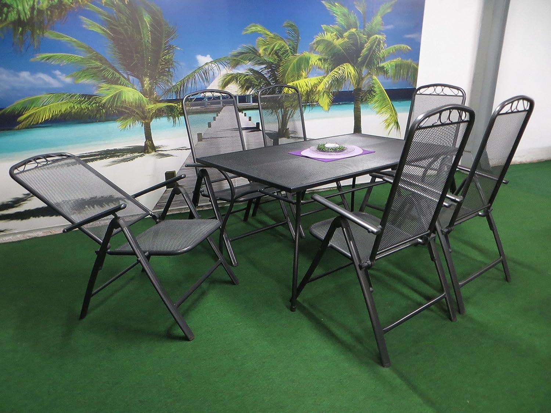 7 Teilige Luxus Streckmetall Gartenmöbelgruppe Von RRR, Klappsessel Und  Gartentisch 150x90 Anthrazit, P25
