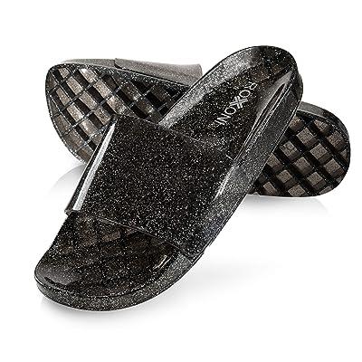 Roxoni Women's Summer Flip Flop Open Toe Jelly Glitter Slide Sandal Slippers | Slides