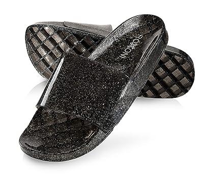 484f8f97830c Roxoni Women s Slide Sandals Summer Flip Flop Open Toe Jelly Glitter  Slippers