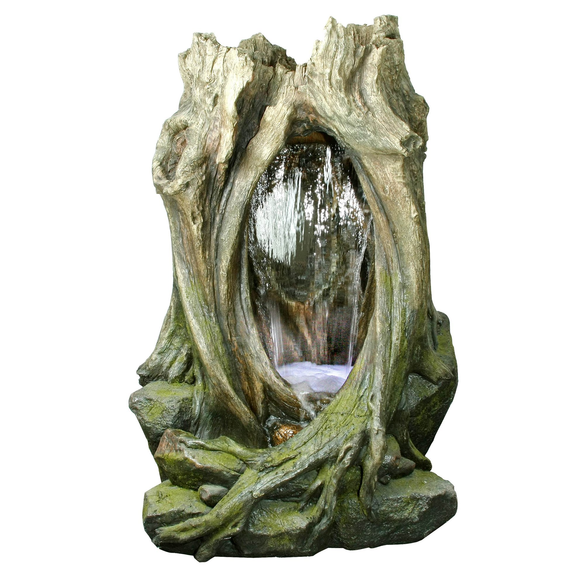 Yosemite Home Decor CW09031 Tall Rain Forest Tree Stump and Rock Base Fountain with LED Lighting