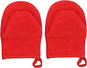 Cotton Quilted Terry Mini Oven Mitts Heat Resistant Half Small Oven Mitts, Hot Pad for Oven with Hanging Loop, Safe Grabs Gloves for Kitchen Cooking & Baking, Set of 2 (Red)