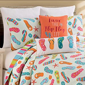 C&F Home Flip Flop Life 2 Piece Twin Quilt Set Coastal Tropical Beach Reversible Bedspread Coverlet for Spring Summer