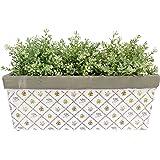 Amazon.com : Esschert Design USA Aged Ceramic Rectangular Balcony Planter Rose Print ...