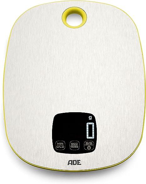 silber - gelb ADE Digitale Küchenwaage KE 1424 Muriel mit Edelstahl Wiegefläche