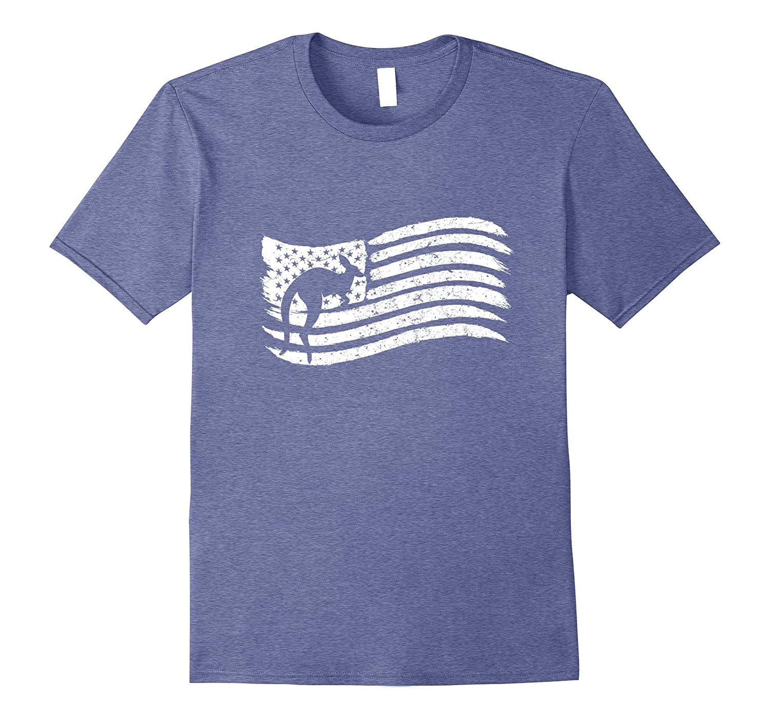American Flag T-Shirt With Kangaroo Vintage Look-AZP