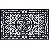"""Calloway Mills Pineapple Heritage 100% Rubber Doormat, 30"""" x 48"""", Black"""