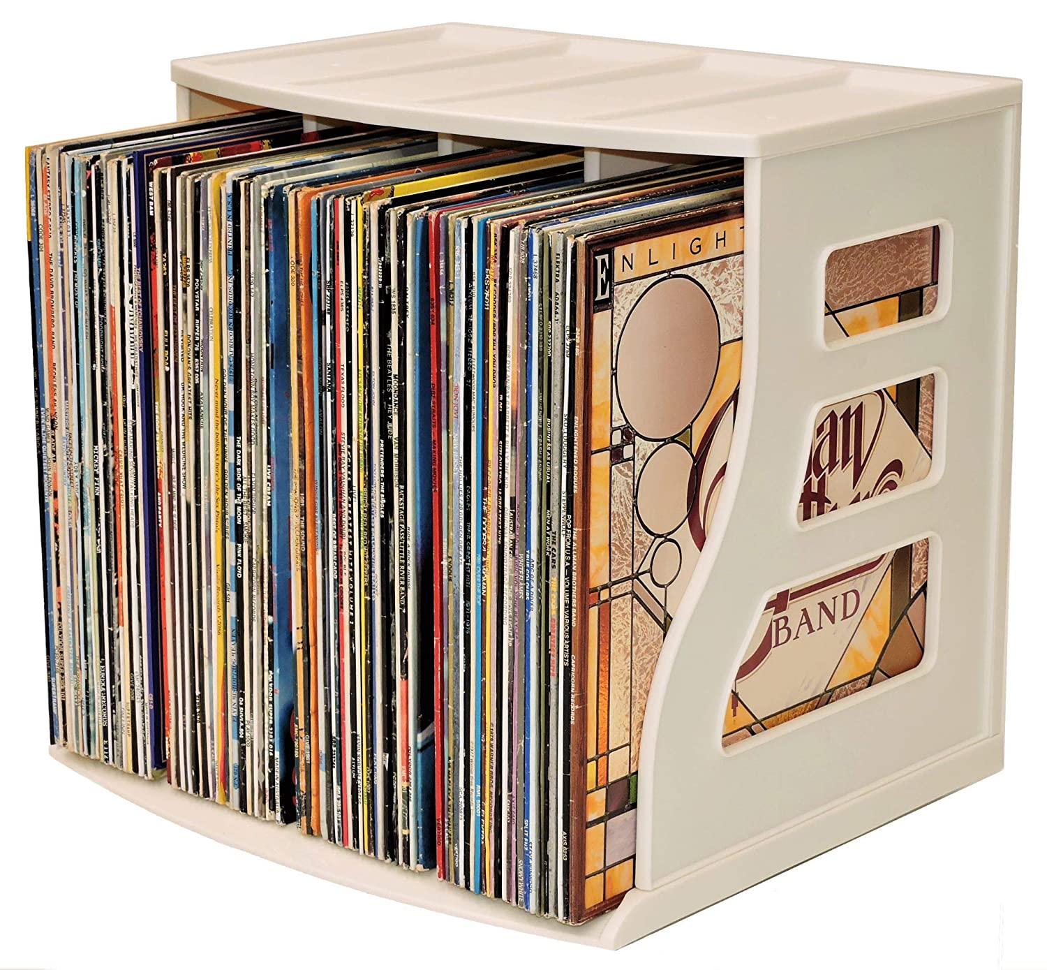 Binder Way LP Vinyl Record Storage Crate Stackable Organizer Holds Over 70 Albums 12x12 Paper Rack Scrapbook Cardstock Box Ring Binder Stand Lever Arch Shelf Cube Magazine Holder BW0001