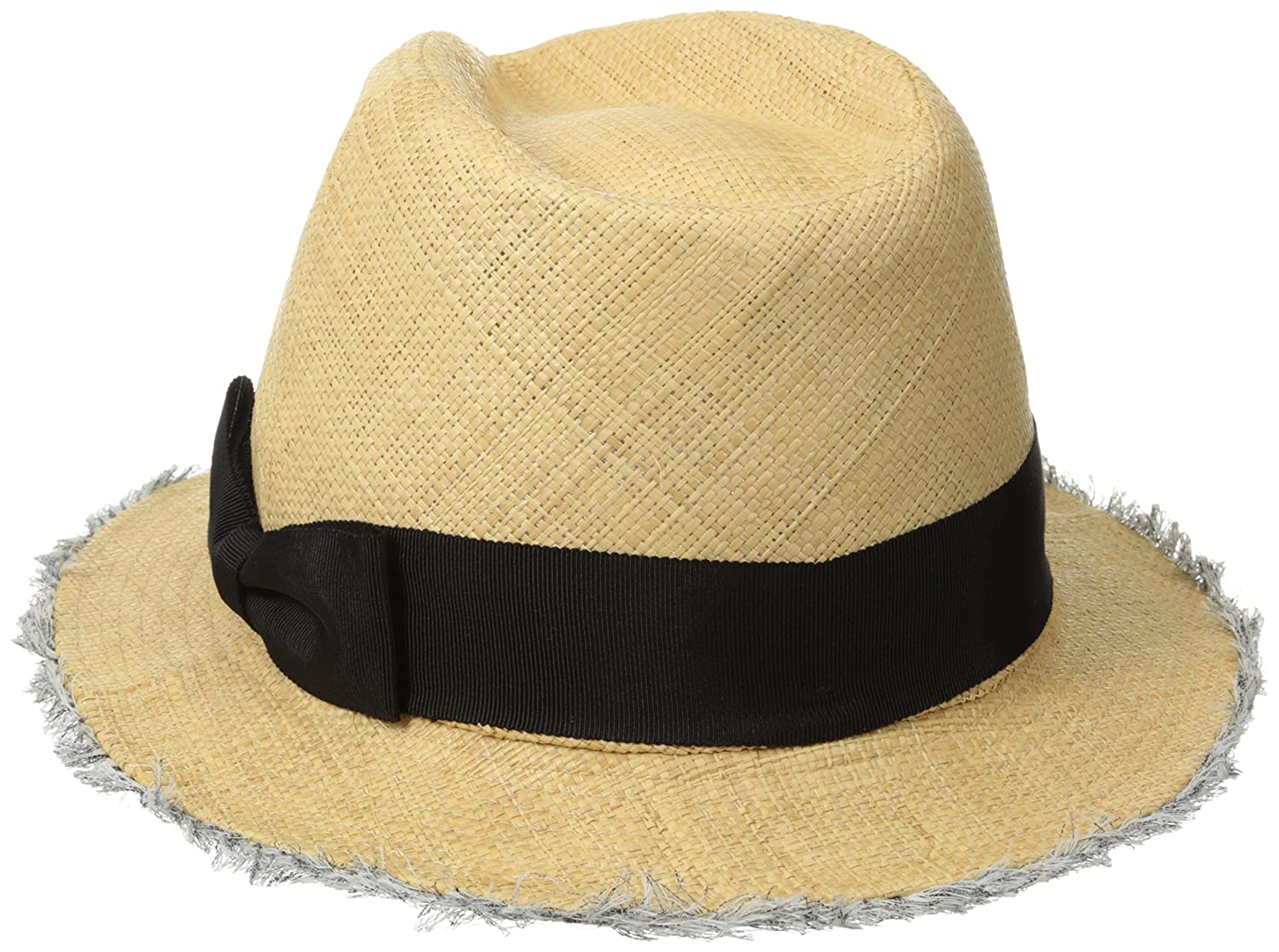 9e299a10ceabeb San Diego Hat Company Women's Raffia Fray Edge Panama Fedora with Ribbon  Bow, Natural, One Size at Amazon Women's Clothing store: