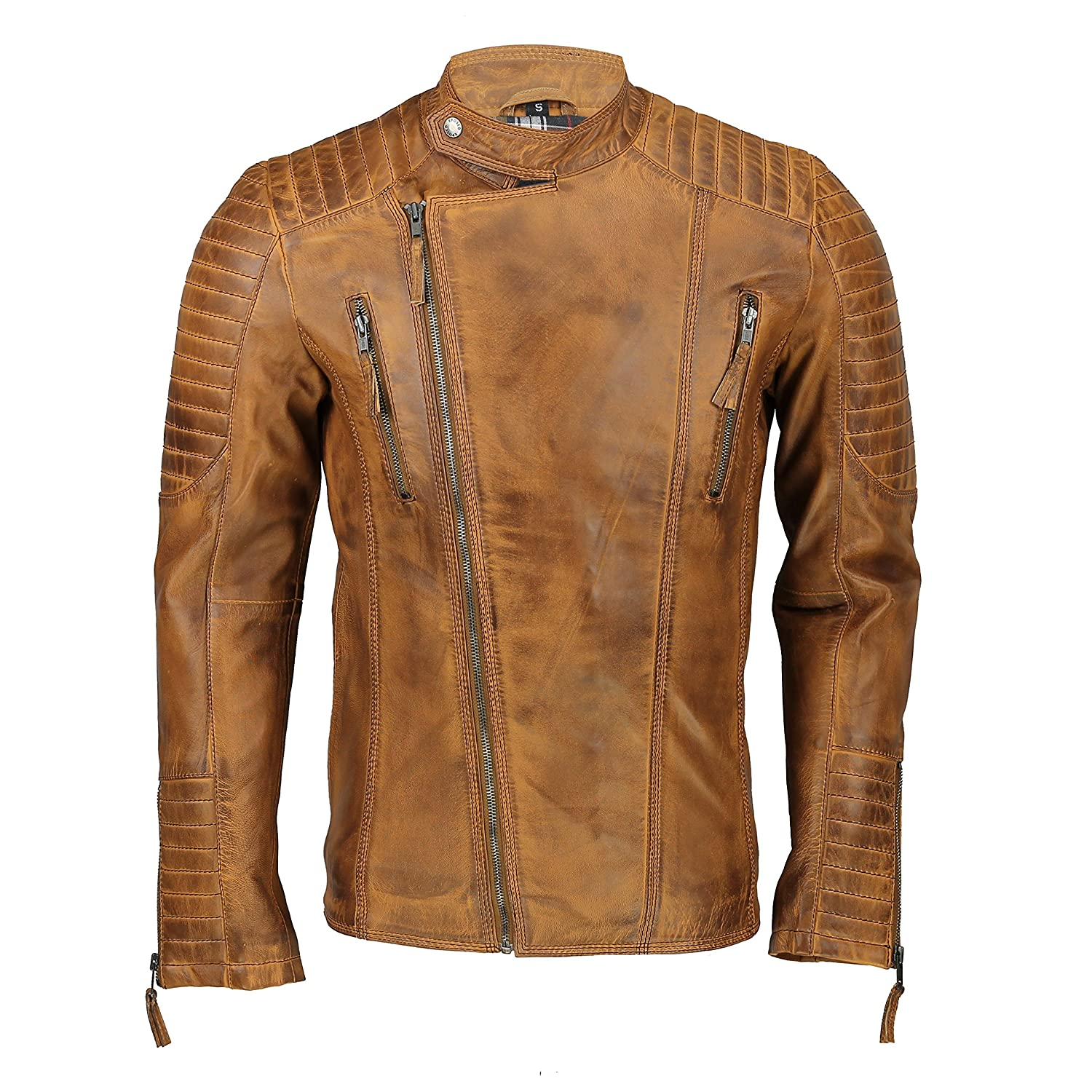 615c32e84 Xposed Mens Real Leather Slim Fit Biker Jacket Vintage Hand Painted Tan  Brown Urban Style