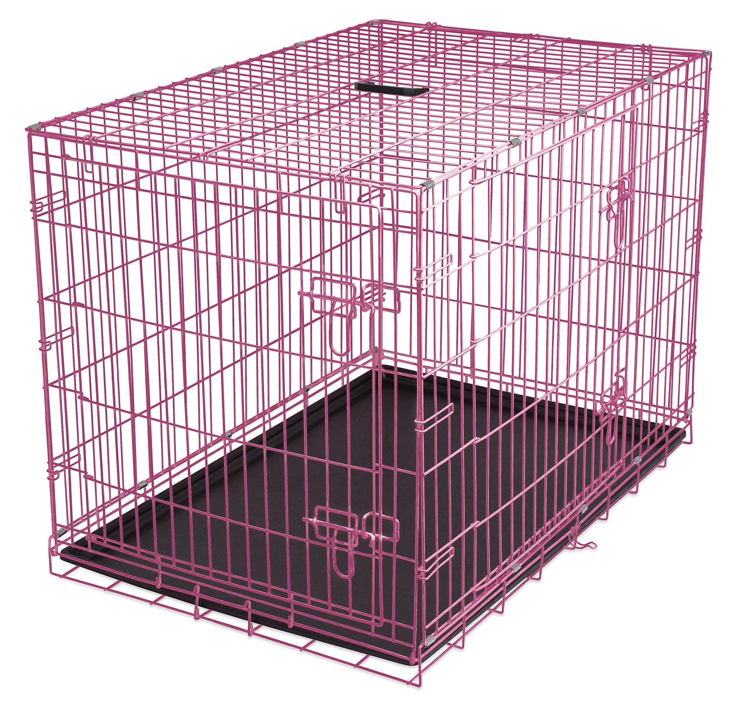 Internet's Best Double Door Steel Crates Collapsible and Foldable Wire Dog Kennel, 36 Inch (Medium), Pink
