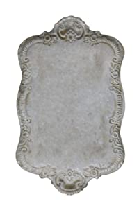 "Creative Co-op Decorative Tin Metal Tray with Distressed Finish, 17.75"" L x 10.5"" W x 1.5"" H, Grey"