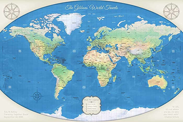 personalized push pin travel map of the world a classic piece for your home or