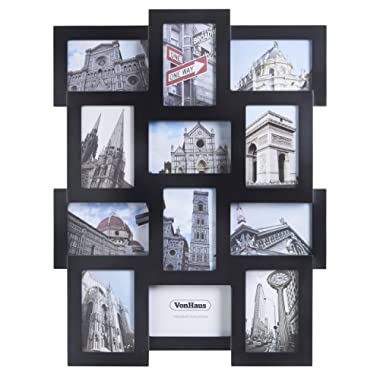 VonHaus 12 x Decorative Collage Picture Frames for Multiple 4x6 Photos - Black Wooden Hanging Wall Photo Frame with 12 Openings Hooks Included