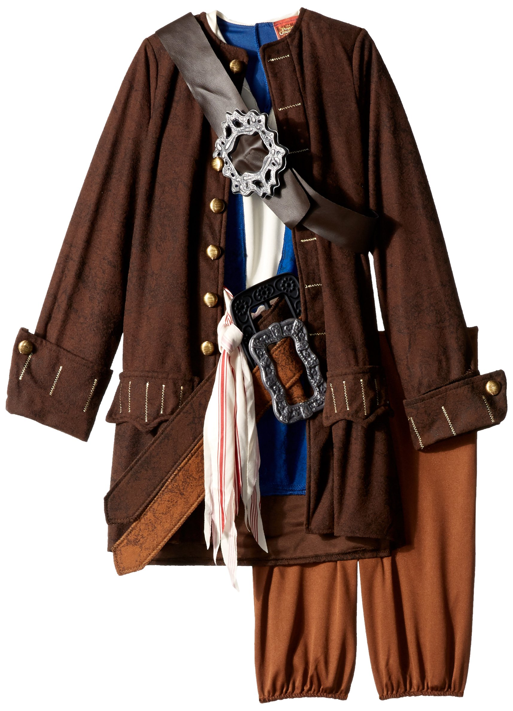 Disney Pirates of The Caribbean Captain Jack Sparrow Prestige Premium Boys Costume, Small/4-6 by Disguise (Image #3)