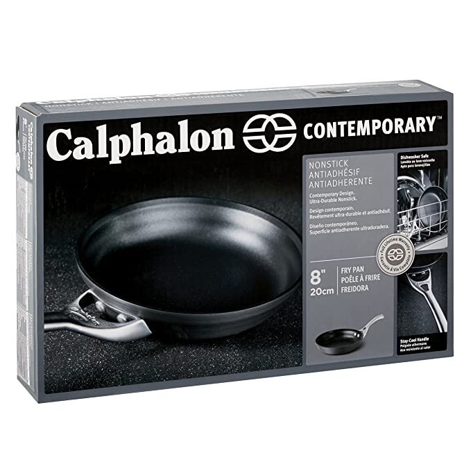Amazon.com: Calphalon Contemporary Hard-Anodized Aluminum Nonstick Cookware, Omelette Fry Pan, 8-inch, Black (Renewed): Kitchen & Dining