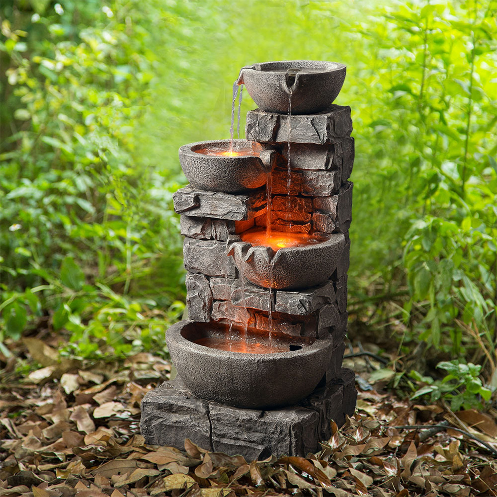 Peaktop 201601PT Outdoor Stacked Stone Tiered Bowls Fountain w/ LED Light