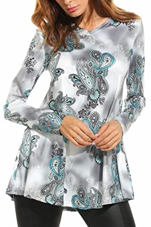 76b662ed75e FANEO Printed Tops for Women Floral Print Blouse Long Sleeved Womens Tunic  Tops Blouses at Amazon Women's Clothing store: