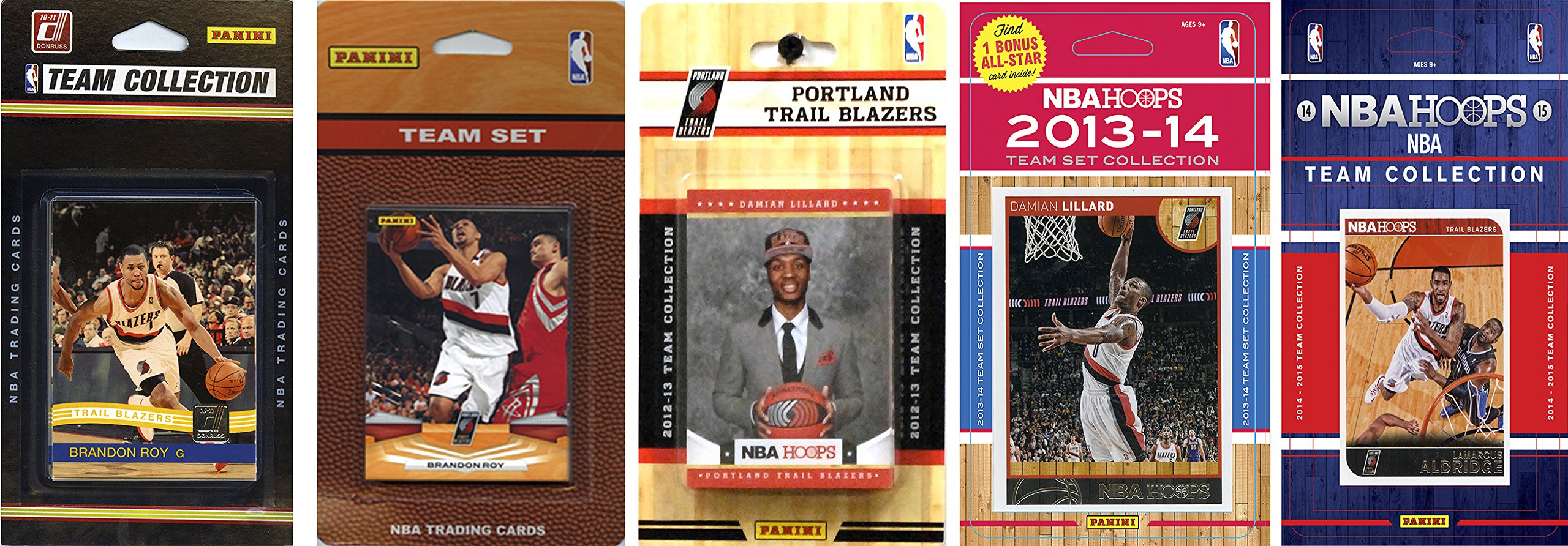 NBA Portland Trail Blazers 5 Different Licensed Trading Card Team Sets, Brown, One Size