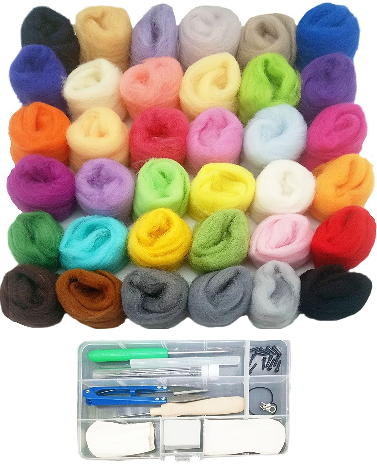 Felting Wool, Misscrafts 36 Colors Wool Roving Fibre Needle Felting Supplies with Felting Tool Kit for DIY Felting Craft 4336906807
