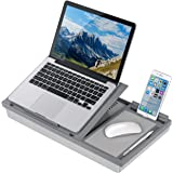LapGear Ergo Pro Lap Desk with 20 Adjustable Angles, Mouse Pad, and Phone Holder - Gray - Fits up to 15.6 Inch Laptops and Most Tablets - Style No. 49405