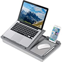 LapGear Ergo Pro Lap Desk with 20 Adjustable Angles, Mouse Pad, and Phone Holder - Gray - Fits up to 15.6 Inch Laptops…
