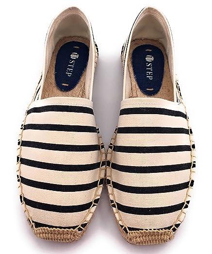 Men's Slip-on Black and white stripes100%cotton Flat Espadrilles 43