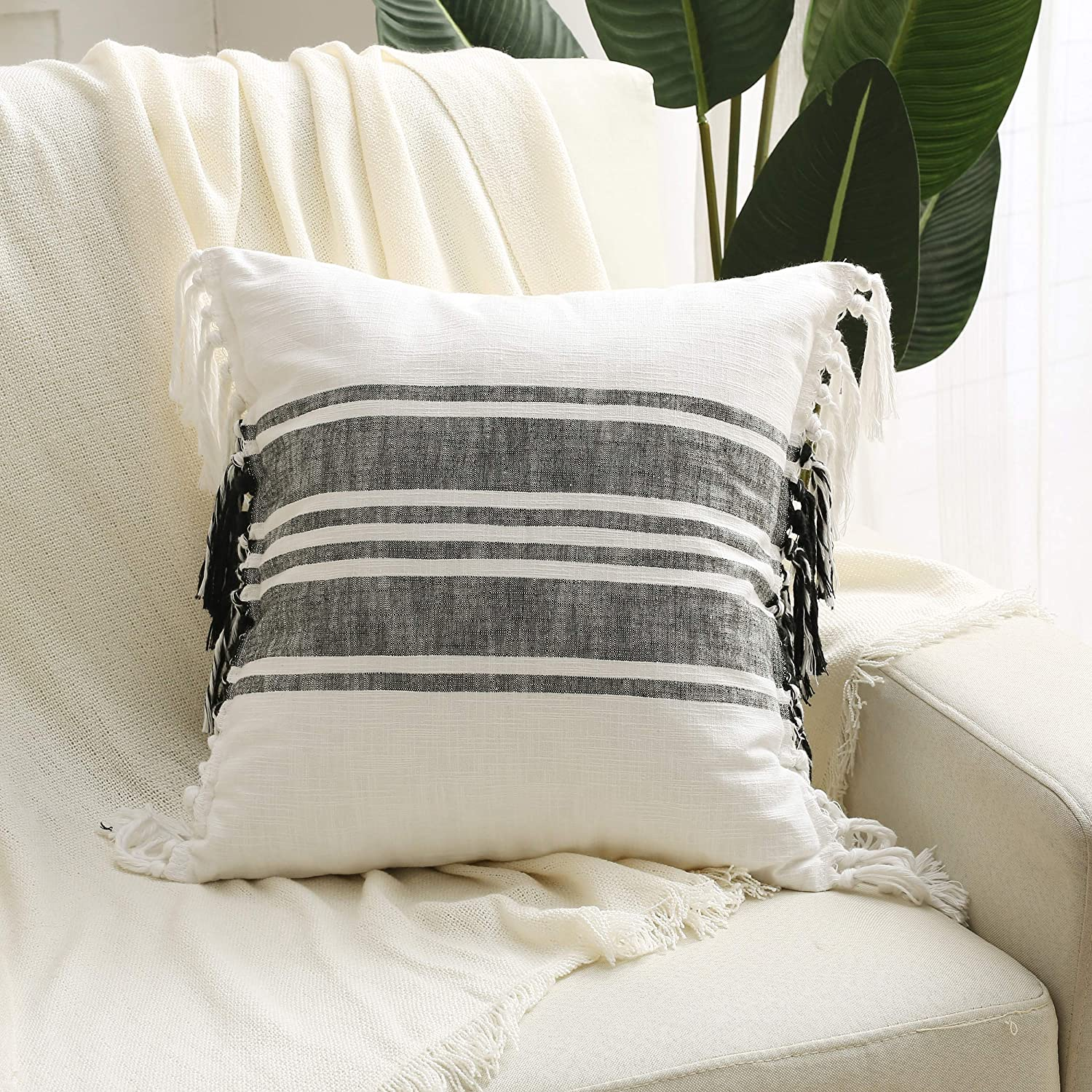 Double Sided Boho Black&White Hmong Throw Pillow Cover-Decorative Yarn-dyed Cotton Pillowcase with hand-knitted Tassels: for Home Décor, Living Room, Bedroom, Farmhouse, Sofa, Couch, Bed, and Car