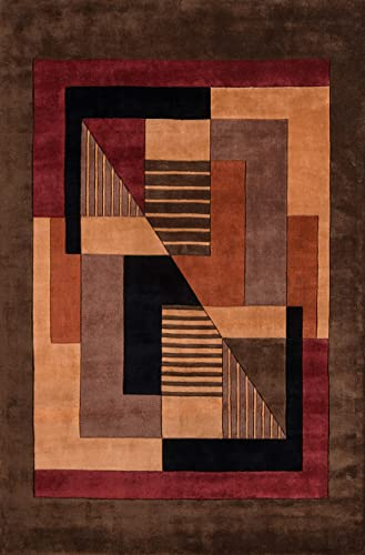 Momeni Rugs New Wave Collection, 100 Wool Hand Carved Tufted Contemporary Area Rug, 9 6 x 13 6 , Pomegranat