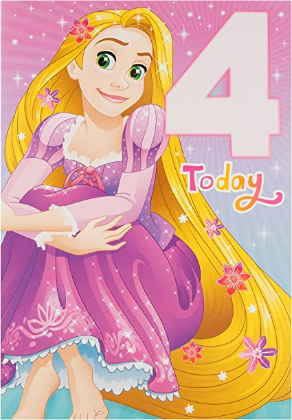 Hallmark Carte D Anniversaire 4 Ans Motif Princesse Disney Raiponce Taille Moyenne Amazon Fr Fournitures De Bureau