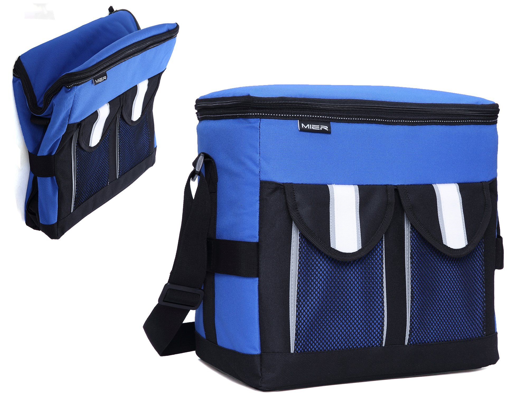 MIER 30Cans Collapsible Soft Cooler Bag Insulated Picnic Lunch Bag Adult, Men, Women, Leakproof Liner, Blue, Large