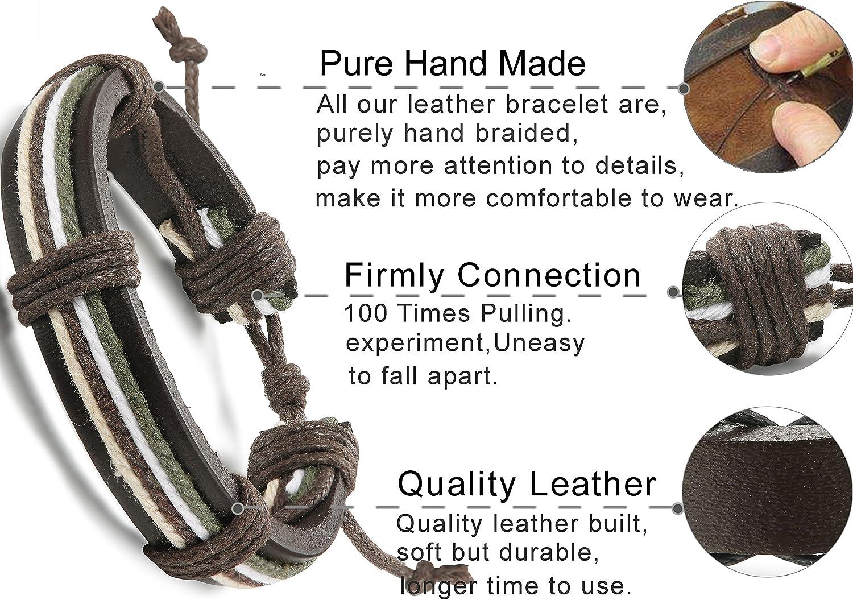 FIBO STEEL 10-32 Pcs Braided Leather Bracelets for Men Women Cool Wrist Cuff Bracelet Adjustable /…