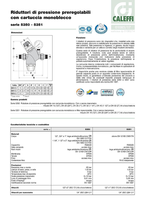 R/égulateur de Pression 535161 Caleffi R/éducteur de Pression avec Cartouche Monobloc Extractible DN25 1 Pouce R/éducteur de Pression dEau avec Cartouche Filtrante et Manom/ètre
