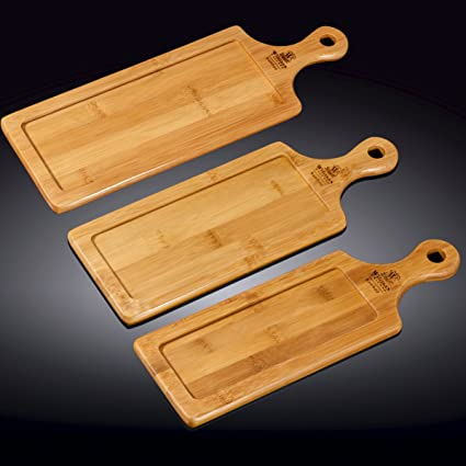 Wilmax Food Serving Large Bamboo Trays Set, Wooden Steak Barbecue Platters, Wood Dinner Plates